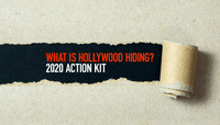 What is hollywood hiding? is printed behind paper being ripped