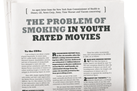 "Image of a newspaper with the headline ""The Problem of Smoking in youth-rated movies"""